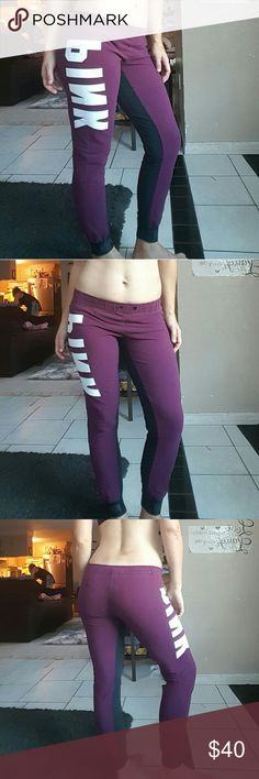 VS Pink gym pants VS Pink maroon and black gym pants with white logo. In good condition no cracking in letters or anything like that. Only flaw is its missing draw string but I will add one if asked before purchasing. Size med. pink Pants Skinny