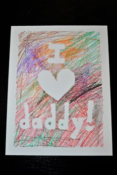 "Happy Fathers Day Cards Greeting cards aren't a man's game. We have a hard time being all sticky sweet and conveying our ""feelings. Diy Father's Day Gifts, Father's Day Diy, Diy Daddy Gifts, Daddy Valentine Gifts, Valentine Crafts, Holiday Crafts, Valentines, Homemade Birthday Cards, Birthday Crafts"