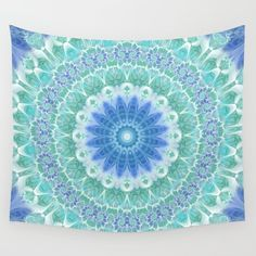 Blue and Turquoise Mandala Wall Tapestry by Kelly Dietrich