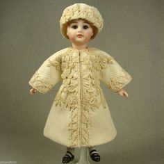 """Dress Coat & Hat Set for 7-7.5"""" Antique French Mignonette All Bisque Doll #176 made by Carol H. Straus #silkandtrim - carolstraus.com - SOLD"""