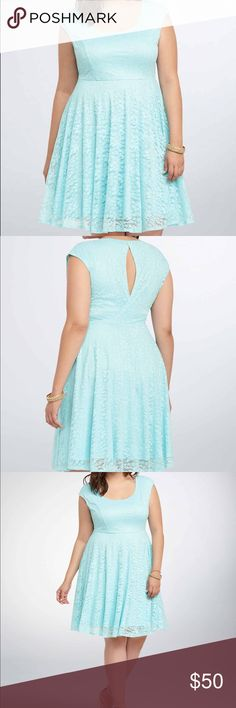 Torrid blue open back dress Sea blue torrid lace dress, criss cross open back. Only worn and washed once. Torrid size 2 (18/20). I'm a size 16 and this fit perfectly. Sold out in this size online and in stores! torrid Dresses