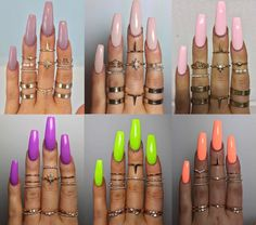 There are three kinds of fake nails which all come from the family of plastics. Acrylic nails are a liquid and powder mix. They are mixed in front of you and then they are brushed onto your nails and shaped. These nails are air dried. Bright Summer Acrylic Nails, Best Acrylic Nails, Pastel Nails, Neon Nails, Bright Nails Neon, Acrylic Summer Nails Coffin, Summer Toenails, Bright Summer Gel Nails, Acrylic Nail Designs For Summer