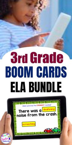 Use this no prep 2nd grade / 3rd grade Boom Cards deck of 355 Reading & Grammar digital task cards to practice inferring the meaning of new words, identifying context clues, clarifying word meanings and master figurative language. #boomcards #boomcardsfirstgrade #boomcardsgrammar #digitaltaskcards #boomcardselementary #boomcards3rdgrade #3rdgrade #thirdgrade #grammar3rdgrade #teacherfeatures #grammar #literacycenter #backtoschool #3rdgradegrammar #boomlearning #wordwork #digitaltaskcards
