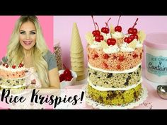How To Make a No-Bake Ice Cream Cake: Mint Chip, Cookies & Cream, Strawberry // Lindsay Ann Bakes Rice Krispie Treats, Rice Krispies, Baked Rice, Ice Cream, Cream Cake, Cookies And Cream, Strawberry, Birthday Cake, Chips
