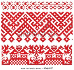 Russian Embroidery Old Pattern Stock Vector - Illustration of embroidery, folk: 12819167 Russian Embroidery, Embroidery Motifs, Cross Stitch Embroidery, Embroidery Designs, Celtic Cross Stitch, Cross Stitch Borders, Cross Stitch Patterns, Bordado Popular, Old Symbols
