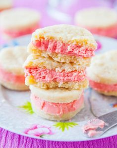 Perfect for springtime! Buttery Sugar Wafer Sandwich Cookies | averiecooks.com