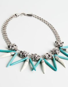 1df3ebc29e94  TIGER AND TURQUOISE FANG NECKLACE Pendientes Grandes