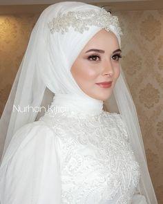 Hijabi Wedding, Wedding Hijab Styles, Muslim Wedding Dresses, Wedding Bride, Bridesmaid Dresses, Hijab Style Dress, Bridal Hijab, Muslim Girls, Bride Makeup