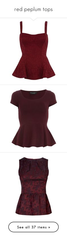 """""""red peplum tops"""" by xoxolaylaoxox ❤ liked on Polyvore featuring tops, shirts, tank tops, blusas, purple, sale, red tank top, sexy tank tops, sexy shirts and red shirt"""