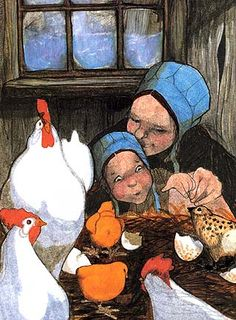 Having lived in Ukraine and now raising chickens, this piece delights me - Ginn Patricia Polacco Children's Book Illustration, Illustrations, Collages, Le Book, Children's Picture Books, Egg Art, Patricia Polacco, Bird Art, Character Concept