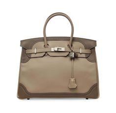 A bi-colour etoupe and argile veau swift leather hermes birkin ghillies bag #hermes