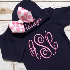 Newborn Coming Home Outfit Baby Girl Gown - Girls' Monogrammed Clothes - Baby Gift Set - Custom Baby Bring Home Outfit - Newborn Photos by sunfirecreative on Etsy https://www.etsy.com/listing/226568405/newborn-coming-home-outfit-baby-girl