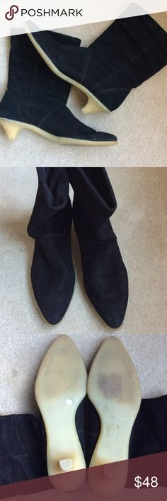 """*RARE* Leather black boots with kitten heel *Rare* black genuine leather boots. Inside tag says """"Imagine"""" by Vince Camuto, but also says BCBG Maxazria (so seems this might have been a limited edition collaboration). Short kitten heel and bottom completely rubberized for great traction. Gently used. Please note: this is a very narrow boot. Shoes Ankle Boots & Booties"""