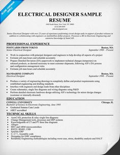 electrical designer resume sample resumecompanioncom