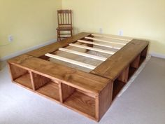 Under bed storage, stained cubbies. This is queen size. - Under bed storage, stained cubbies. This is queen size. Diy Storage Bed, Bed Frame With Storage, Under Bed Storage, Underbed Storage Ideas, King Size Storage Bed, Cube Storage, Extra Storage, Storage Bed Queen, Record Storage