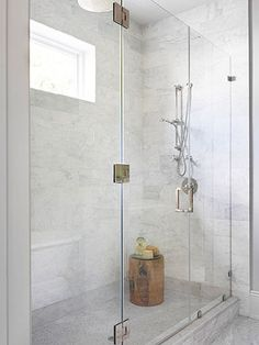 Natural Light | Glass Doors | Gray and White Marble