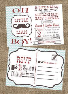 5x7 Little Man Mustache Baby Shower Invitation Postcard. $15.00, via Etsy.