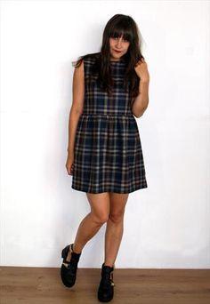 Tartan Print Sleeveless Dress