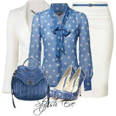 *PROFESSIONAL OUTFIT* TOBACCO D&B BAG - White Skirt, Baby Blue Blouse, White Jacket, Tobacco Belt, Watch, Necklace, Bracelet, Ring, Earrings & Tobacco Heel Shoes.