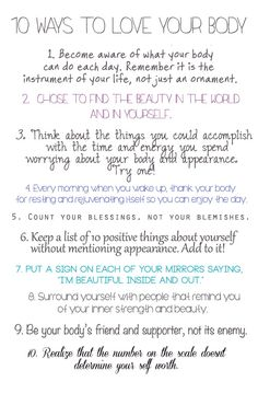 10 Ways to Love Your Body #EatingDisorder #EatingDisorderTreatment #Recovery #NEDA #Awareness #LoveYourBody #LoveYourSelfie