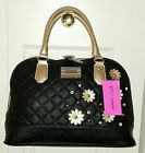 ❦∫ NWT BETSEY JOHNSON Satchel Crossbody Black/BLOOM DOME Faux LEATHER HAN... Act http://j.mp/2jQXxd9