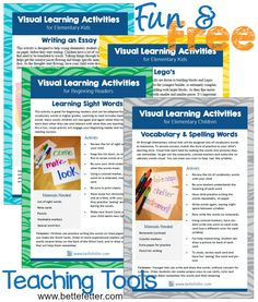 We want to help you help your child operate successfully in the classroom and have designed these activities (free downloads) with your visual learner in mind.