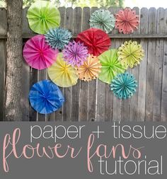 How to make paper and tissue paper flower fans.