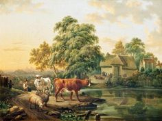 BBC - Your Paintings - A Farm Landscape with Cattle and Sheep by a Pond