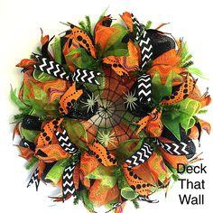 Orange Green Black Spider Web Mesh Wreath