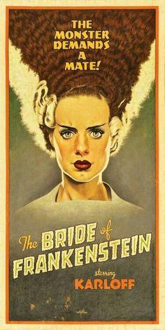 """"""" The Bride of Frankenstein """" Arthur K.Miller artist. Classic hollwood horror film posters / lobby cards"""
