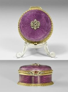 Post Medieval Gilt Enamelled Box by Armfeldt, Fabergé