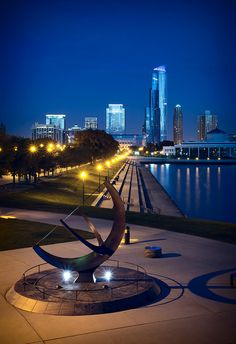 Museum campus at night, looking north along the water line (Chicago Pin of the Day, 7/21/2014).