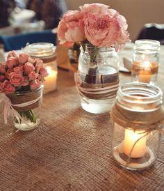 Lovely wrapped mason jars #wedding #masonjars #burlap Kym Ventola Photography