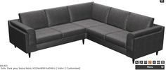sample sofa layout that would fit our space #4 -- BoConcept Indiva 2 sofa in Dark Gray Sazza fabric: [1] Basic unit 2000, [2] Corner unit 6100, [3] Basic unit 2000, [4] Armests 21, [5] Legs 4070.