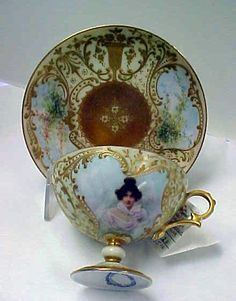 Limoges Pedestal Cup And Saucer With Hand Painted Portrait By Raphael Weilla Co. San Francisco