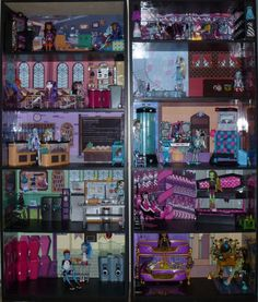 monster high doll house | Monster High Dead Tired Bedroom Bookcase Kit w Abbey's Room Doll House ...