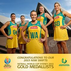 Congratulations to our AMAZING 2015 NSW Swifts who are waking up this morning as… Netball Australia, Netball Dresses, Olympic Games, Sports Women, Brisbane, World Cup, Swift, Congratulations, Champion