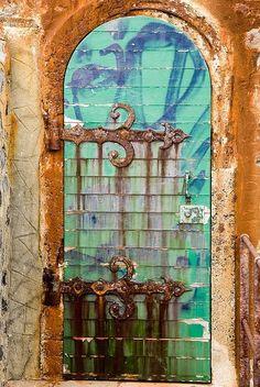 Collioure Lighthouse Door Perpignan Harbour, Pyrénées-Orientales, France Sometimes a door just has to be photographed. Look at how the rusting metal has patterned the door ♥ Cool Doors, Unique Doors, Knobs And Knockers, Door Knobs, Porches, Porte Cochere, When One Door Closes, Door Gate, Doorway