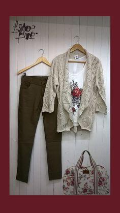 saco calado color cemento+ leggin+rosas vintage