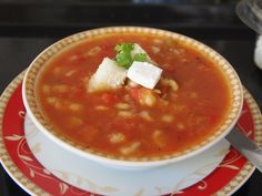 Chunky tomato soup inspired by the Andes