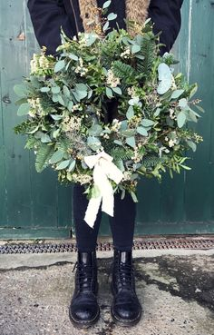 Winter greenery wreath - Happy Christmas - Noel 2020 ideas-Happy New Year-Christmas Diy Christmas Decorations For Home, Christmas Door Wreaths, Christmas Flowers, Noel Christmas, Holiday Wreaths, Winter Christmas, Winter Wreaths, Christmas Greenery, Christian Christmas