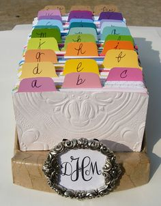 Creative Ideas using Paint Chips - make over a boring Rolodex. {InMyOwnStyle.com}  #desk  #paintchips #organizing
