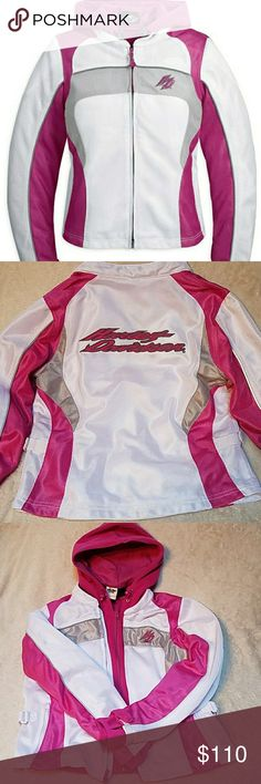Harley Davidson womens 2 in 1 Riding Jacket Large Harley Davidson women's two in one riding gear jacket size large. Excellent condition, worn once, this jacket is awesome! With lots of hidden pockets on the inside for storage while riding see photos. You can take it apart and we're just the pink fleece or outer shell jacket or put it together for a heavier jacket. Harley-Davidson Jackets & Coats