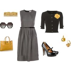Sleveless grey midi dress, short sleeved cropped cardigan, patent leather mary janes, mustard yellow tote, citrine earrings, yellow flower brooch