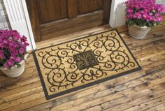 39 x 24 - Monogram Coir Medallion Doormat is a great housewarming gift, personalized unique gift,or real estate agent closing gift, realtor closing gift for that special family.