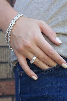 Casual Friday just got a little less casual. Don't be afraid to add some major sparkle to a casual look. It can add some serious chicness to your everyday look. Featured: Tracey Bracelet, Cassie Bracelet, Oasis Eternity Bands