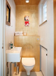A very small bathroom that could be completely uneventful, but isn't due to the 'ribbon' of plywood