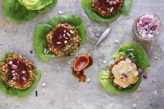 Lettuce-wrapped BBQ quinoa kale and corn veggie burgers topped with cheddar that are totally gluten-free and veggie friendly.
