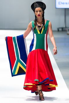 zandy b designs - south african flag fashion South African Dresses, African Bridesmaid Dresses, South African Flag, African Print Clothing, African Print Fashion, Tribal Fashion, Diy Fashion, African Prints, Pageant Dresses
