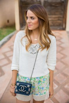5.14 simple summer (Maje jewelled sweater + Jen's Pirate Booty floral shorts + Chloe scalloped flats + Chanel bag)